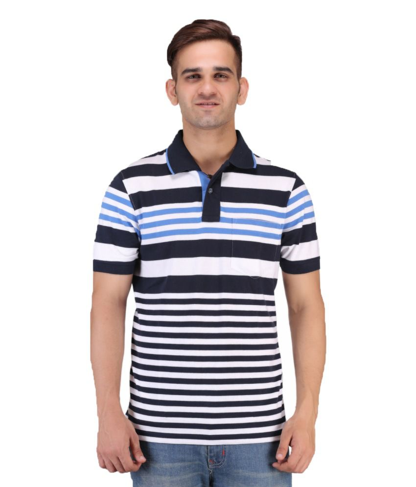 Keywest Multicolour Half Sleeves Stripe Polo T-shirt