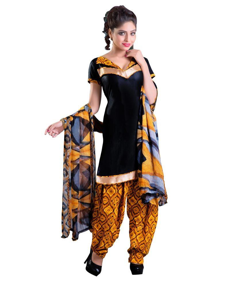 Manthan Black Cotton Unstitched Dress Material