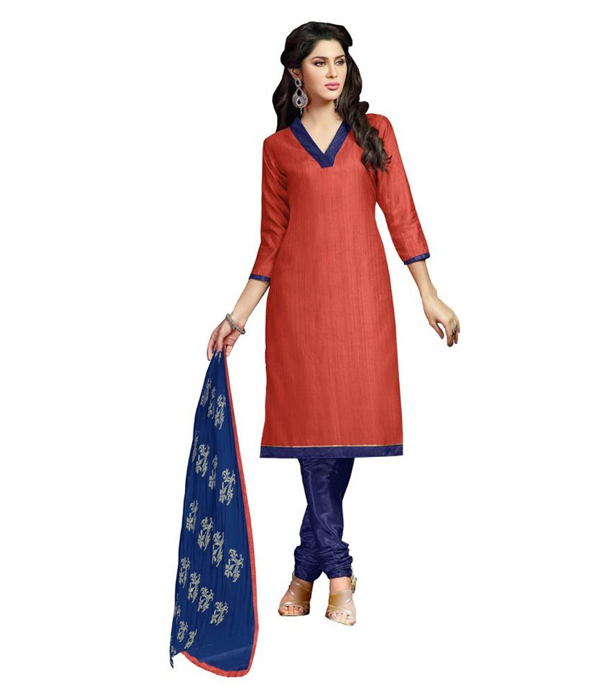 Manthan Orange Chanderi Unstitched Dress Material