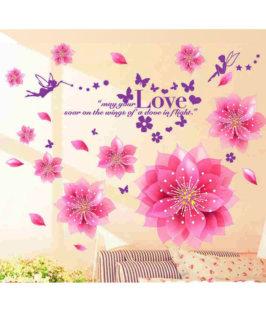 HOMETALES Flowers Blowing Sticker ( 110 cm x 110 cm)