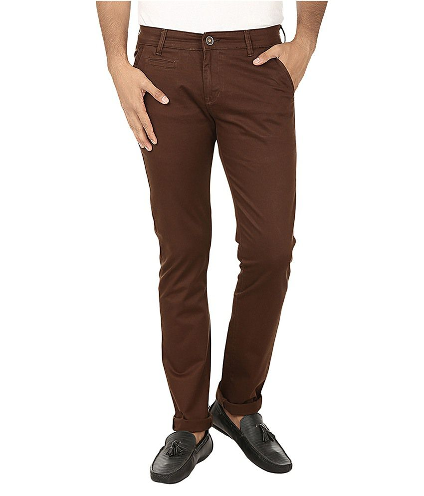 Fever Brown Slim Fit Casual Trouser