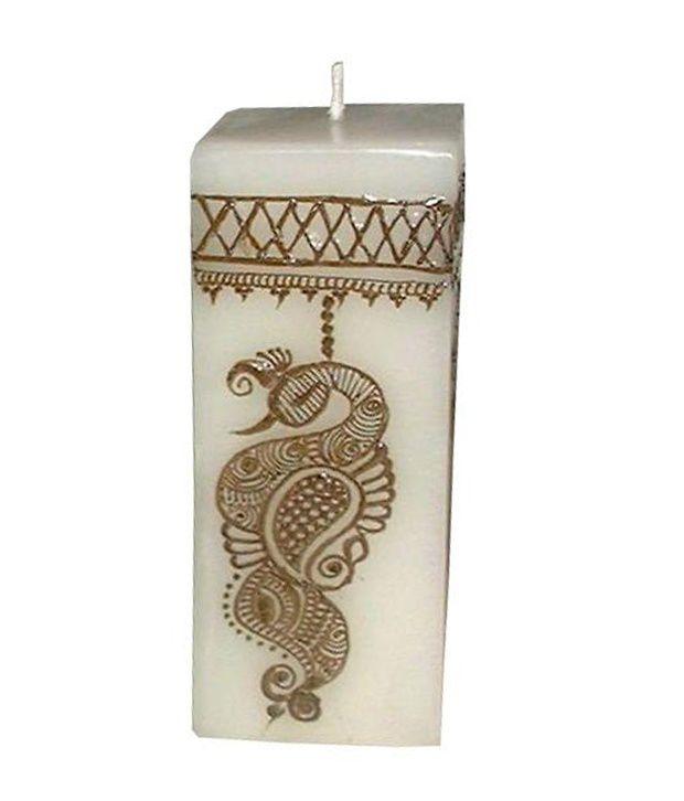 Indigo Creatives Classy Henna Mehendi Festive Pattern Wax Candle