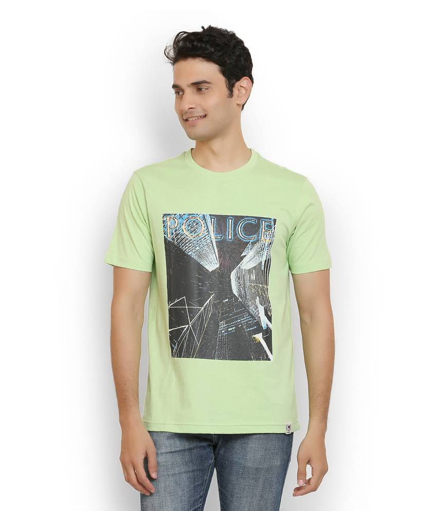 Police Green Cotton T Shirt