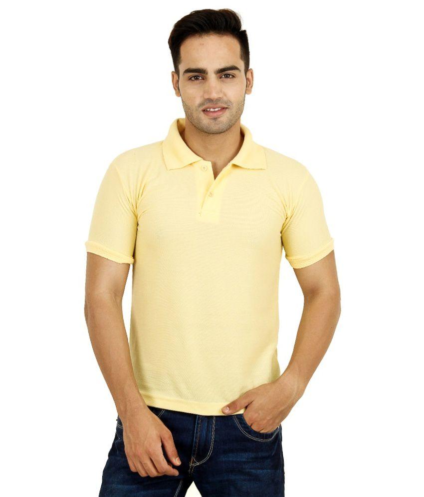 Bahar Yellow Cotton Blend Polo T-Shirt