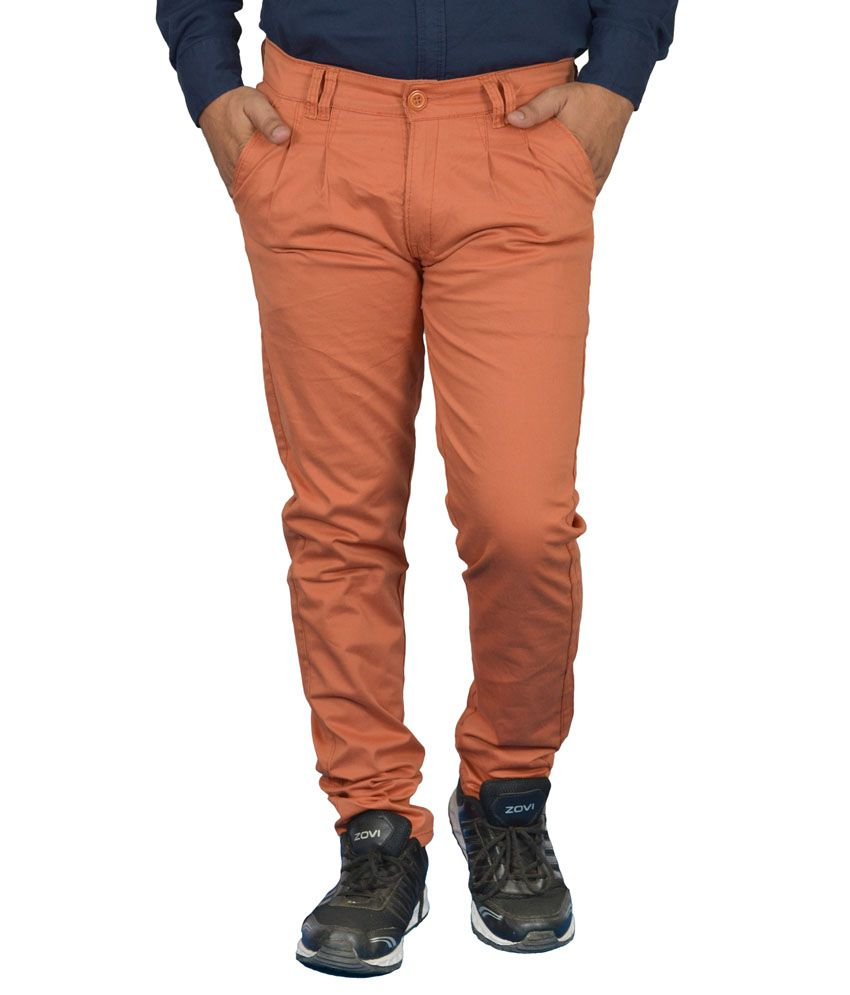 Jura Polo Orange Regular Fit Casual Chinos