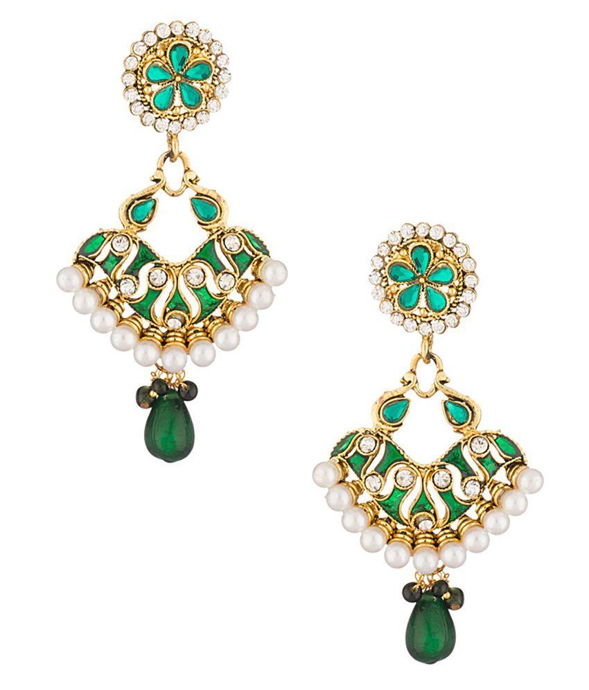 Voylla CZ Embellished Dangler Earring Pair