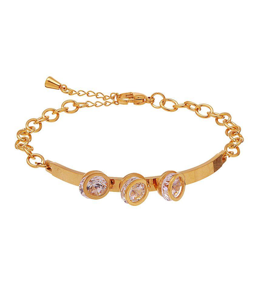 Voylla Gold Toned Shimmering Cz Bracelet