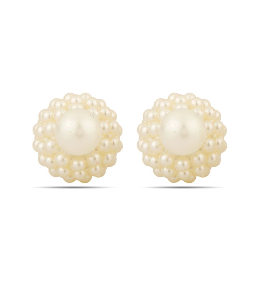 Voylla Peral Beads Studded Gold Toned Ear Studs