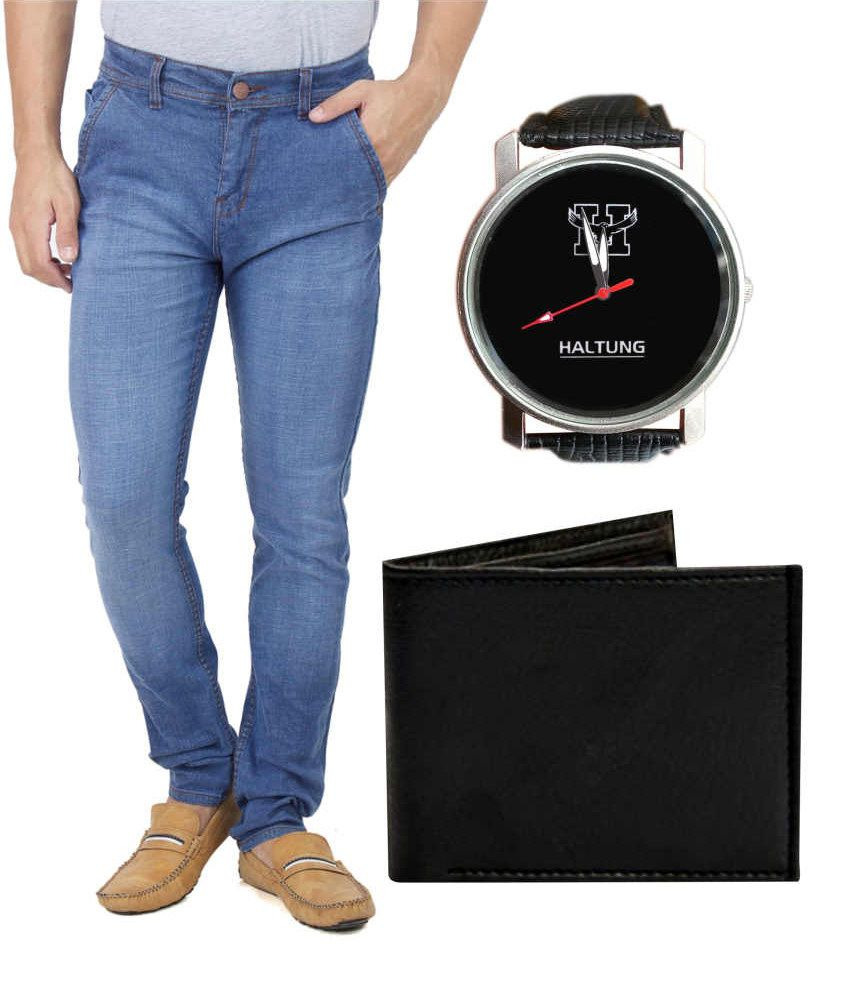 Haltung Dark Blue Faded Jeans with Free Watch & Purse