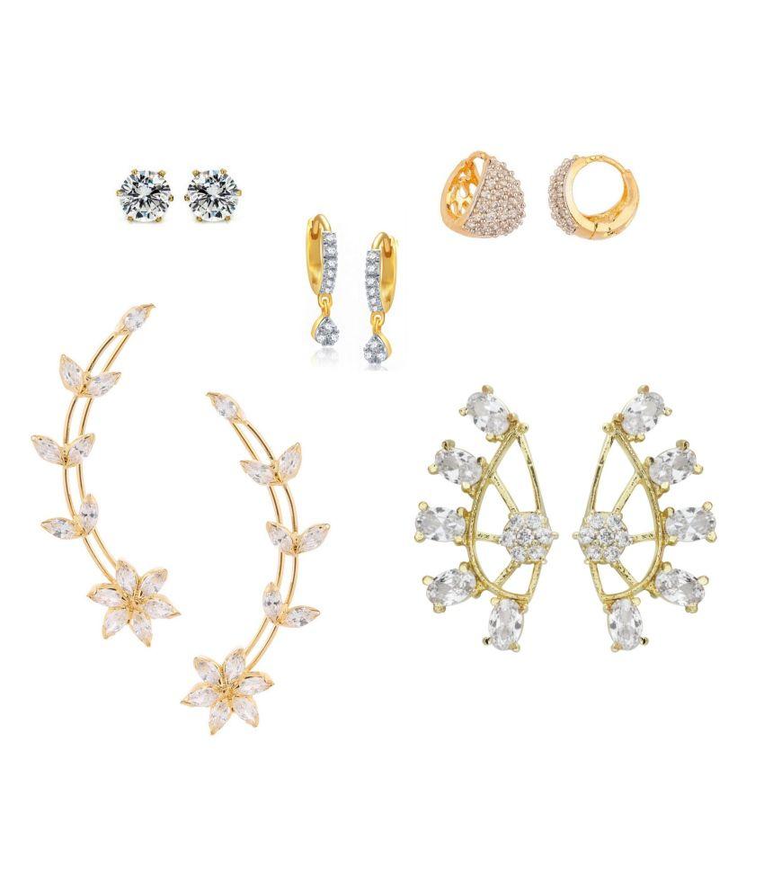 Parijaat White American Diamond And Alloy Earrings - Set Of 5