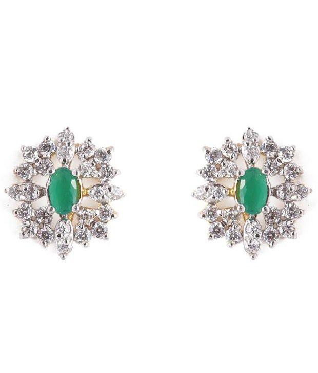 Perfect Jewels Green Alloy Stud Earrings