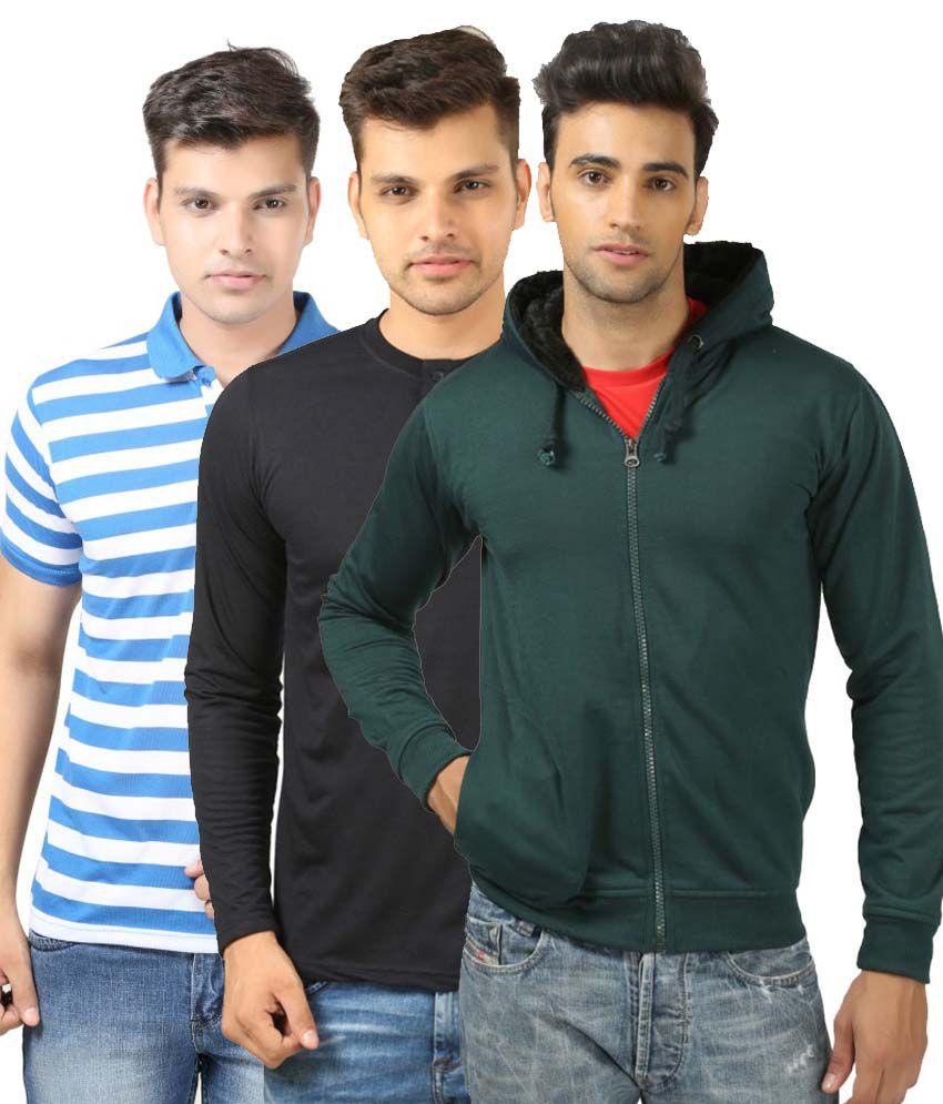 Etoffe Combo Of Polo , Henley T Shirt And Sweatshirt