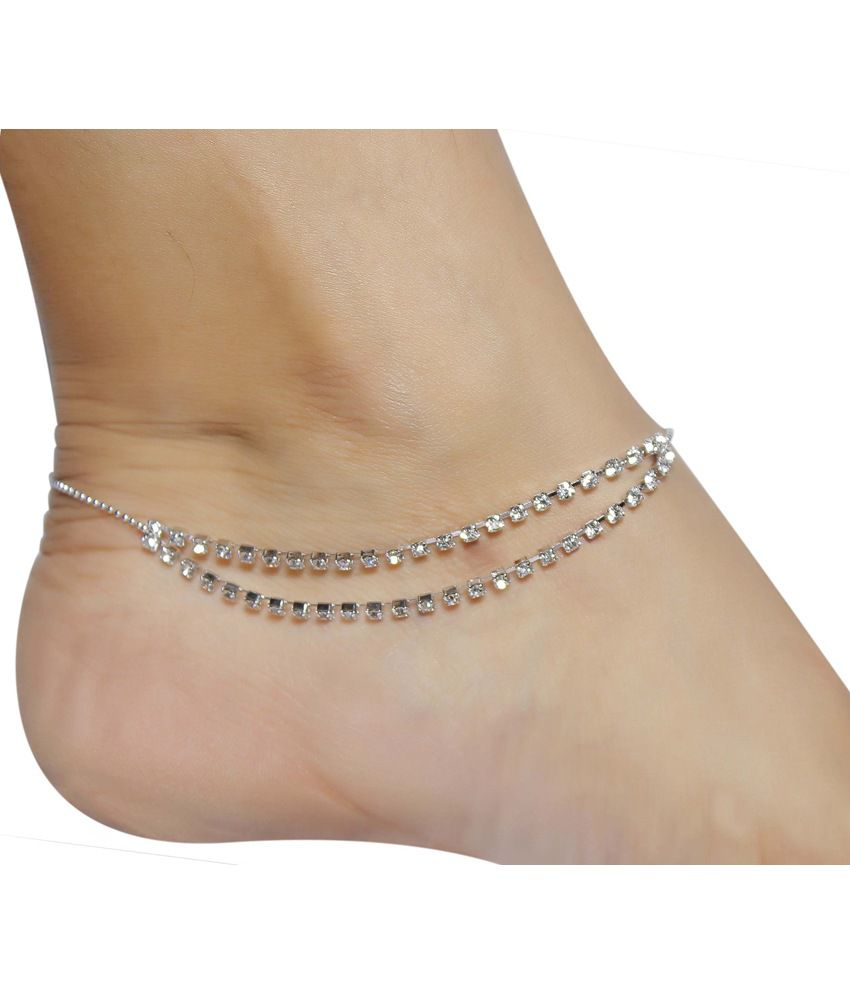 Much More Crunchy Fashion Crystal Made Silver Plated 1 Pair Fashion Anklet/Payal For Daily Wear Jewelry