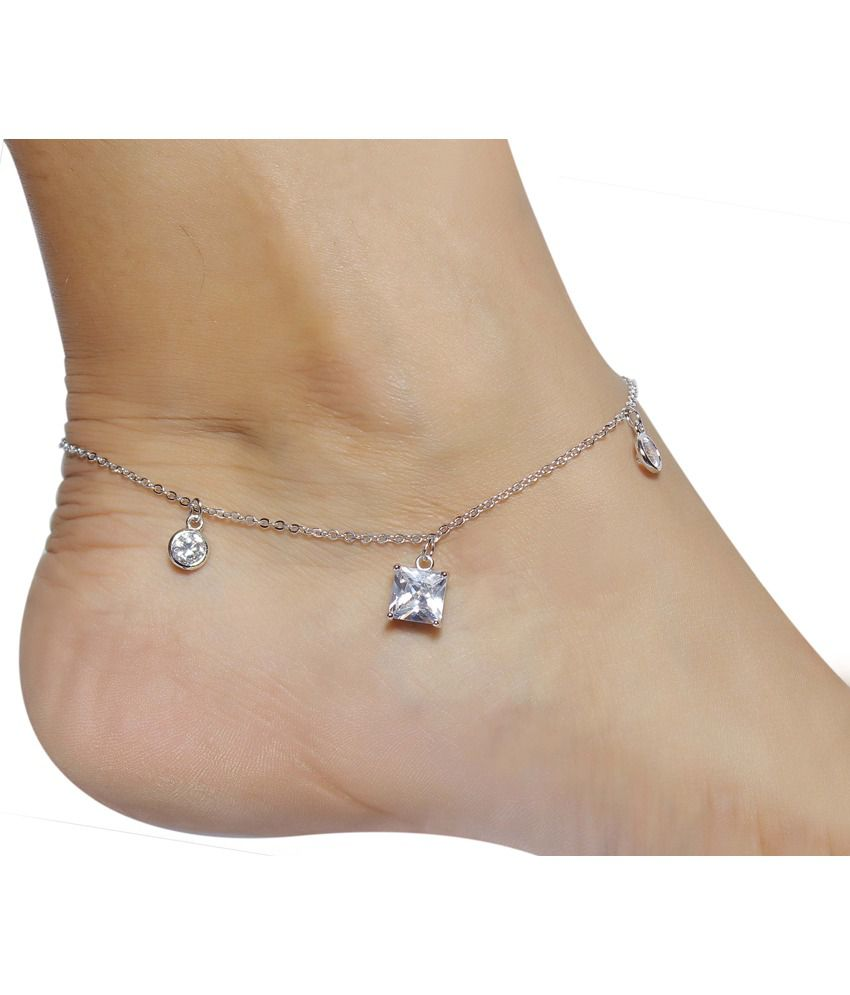 Much More Unique Daily Wear Trendy Fashion Silver Tone Stylish 1 Pair Fashion Anklet/Payal For Women