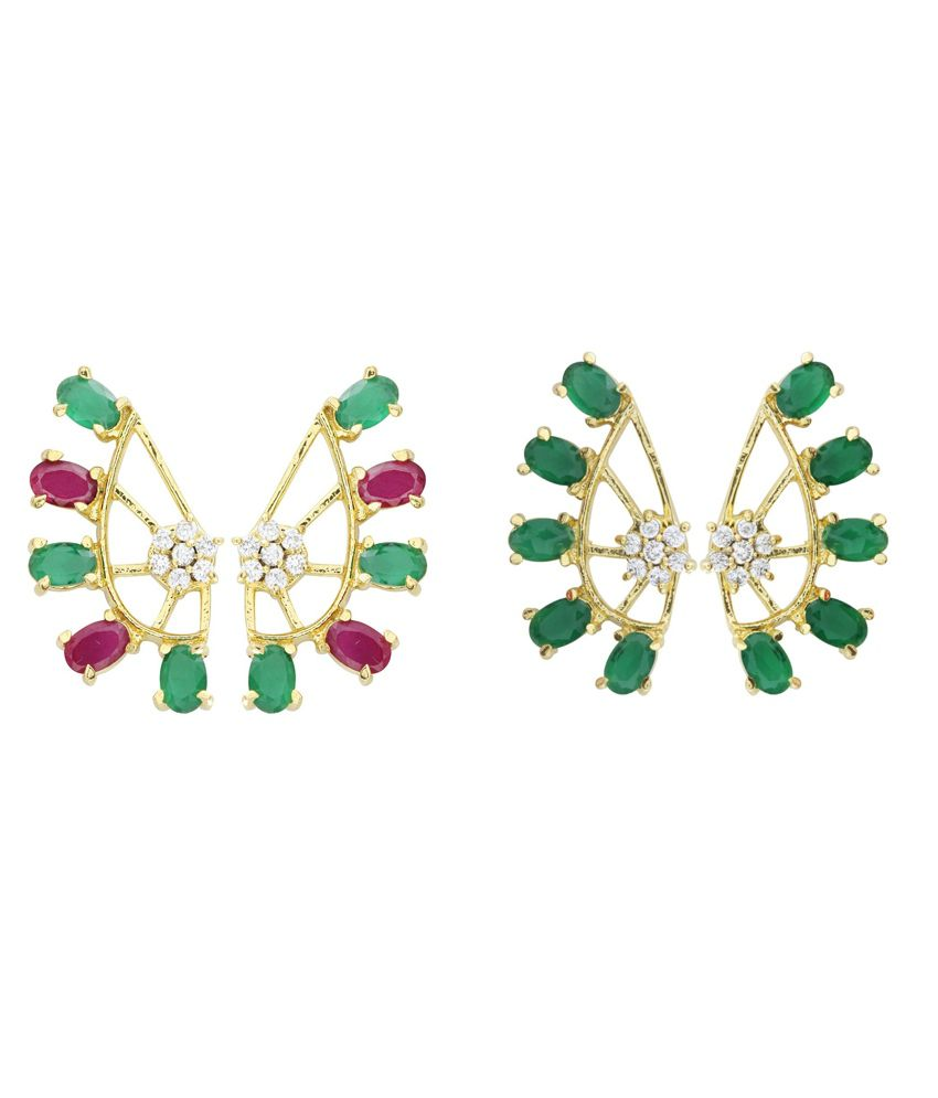 Parijaat Multicolour Style Diva American Diamond Ear Cuffs - Pack Of 2