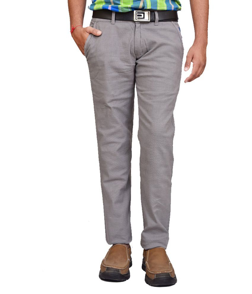 British Terminal Grey Slim Fit Casual Chinos