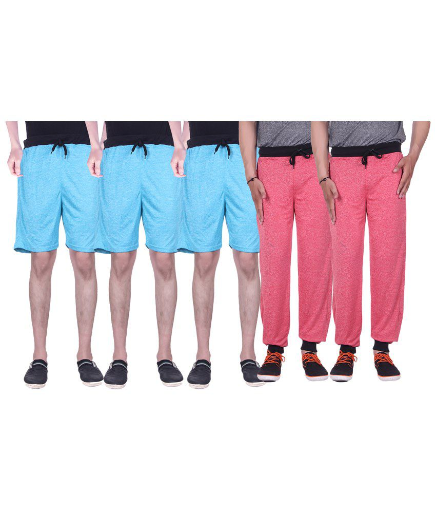 Gag Wear Multicolour Pack of Solid 2 Trackpants & 3 Melange Shorts