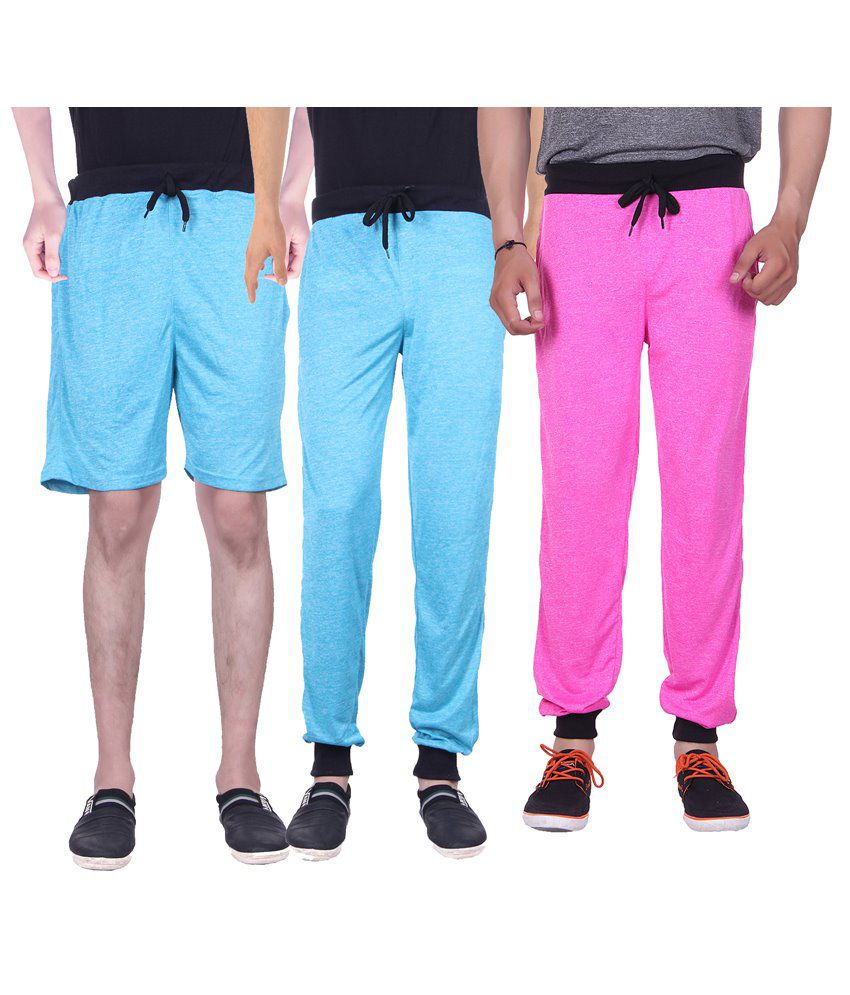 Gag Wear Multicolour Pack of Solid Melange Shorts & 2 Trackpants
