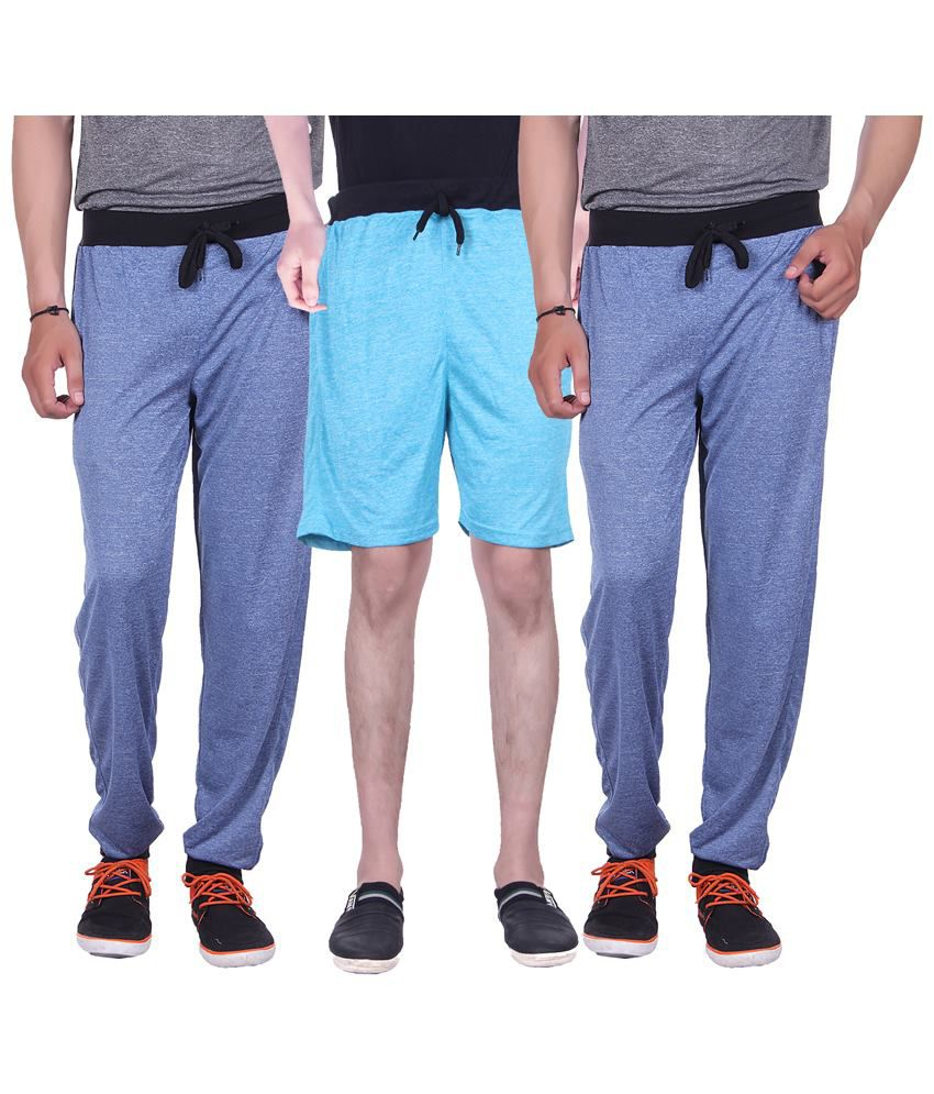 Gag Wear Pack of Blue Solid Melange Shorts & 2 Trackpants