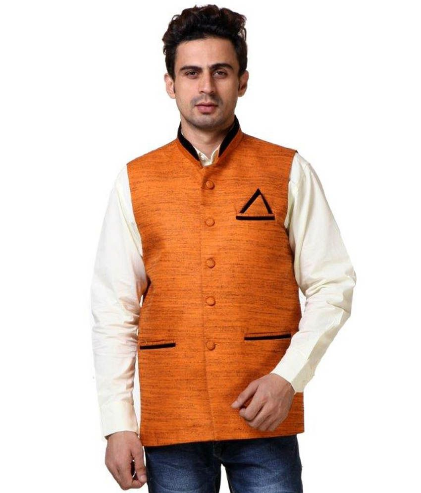fd162d0cf640 Vlive Orange Casual Khadi Medium Nehru Jacket - Buy Vlive Orange Casual  Khadi Medium Nehru Jacket Online at Low Price in India - Snapdeal