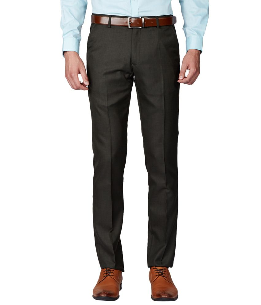 Green Slim Fit Formal Trousers