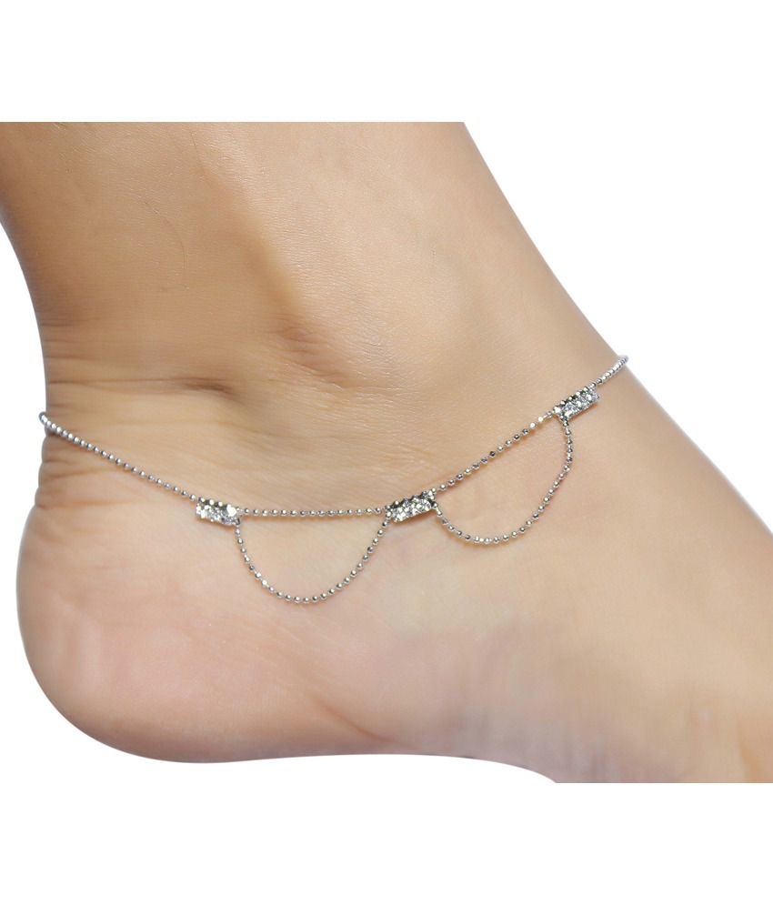 Much More Ethnic Traditional Design Silver Plated 1 Pair Anklet ...