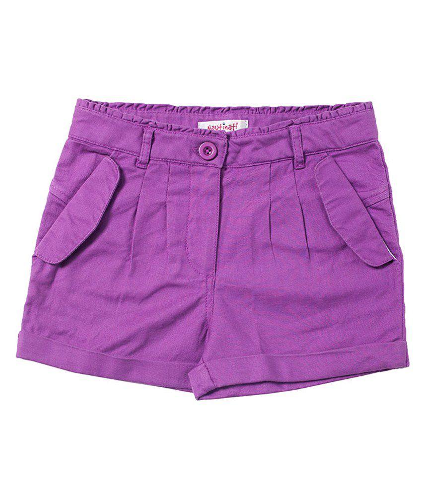 Nauti Nati Cotton Solids  Purple Shorts For Kids