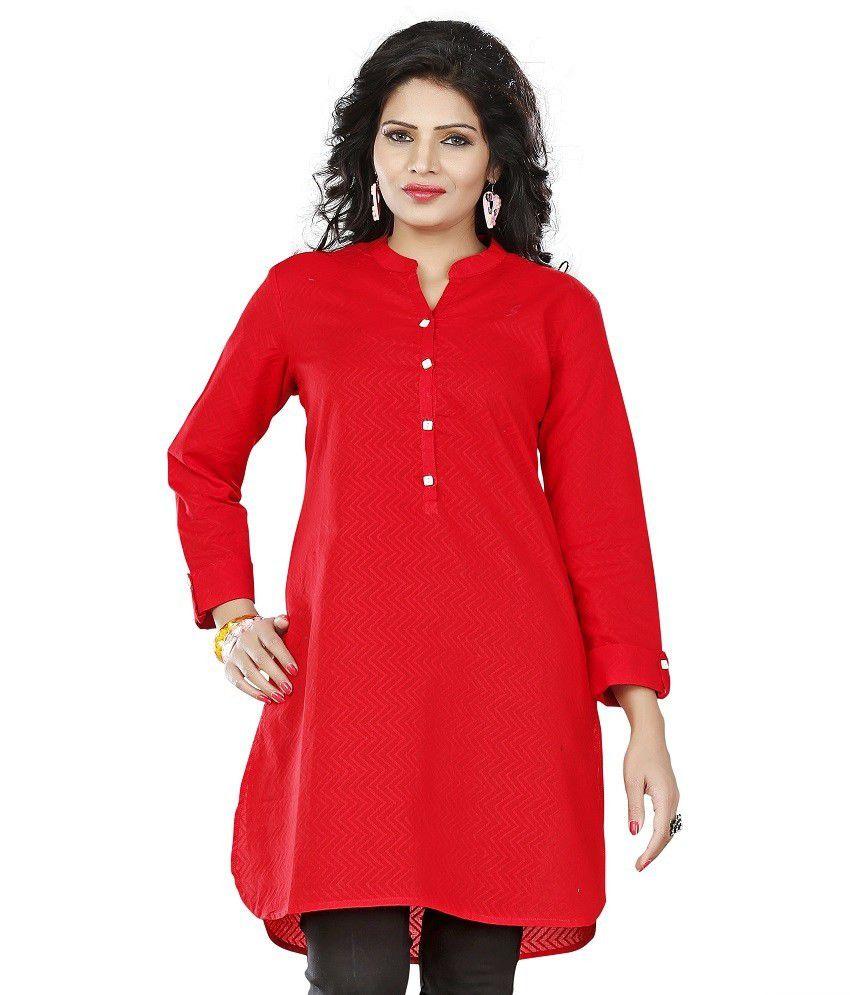 Twinkal Red Cotton Kurti
