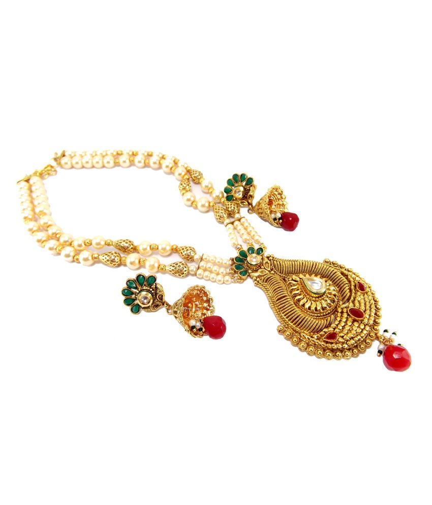 9blings Multicolour Alloy Pearl Necklace Set