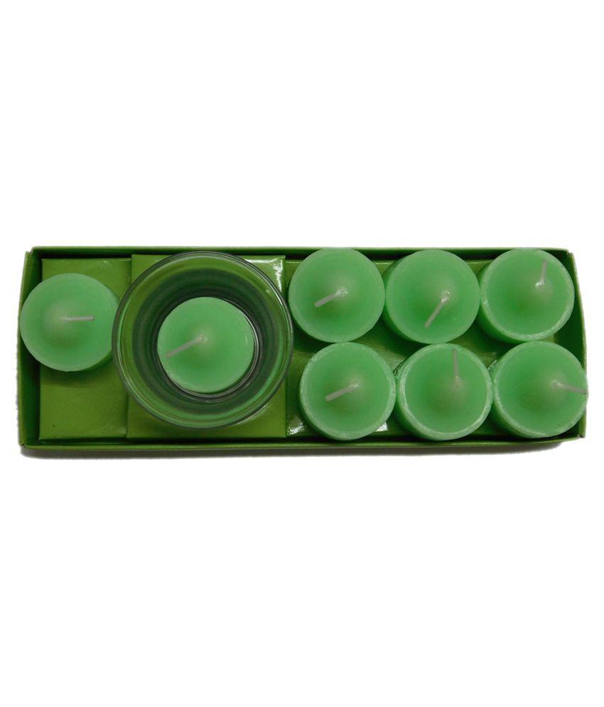 Aadishwar creation Green Candle Set - Pack of 8