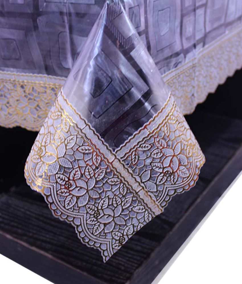 E-Retailer's Stylish Square Transparent With Golden Lace Center Table Cover