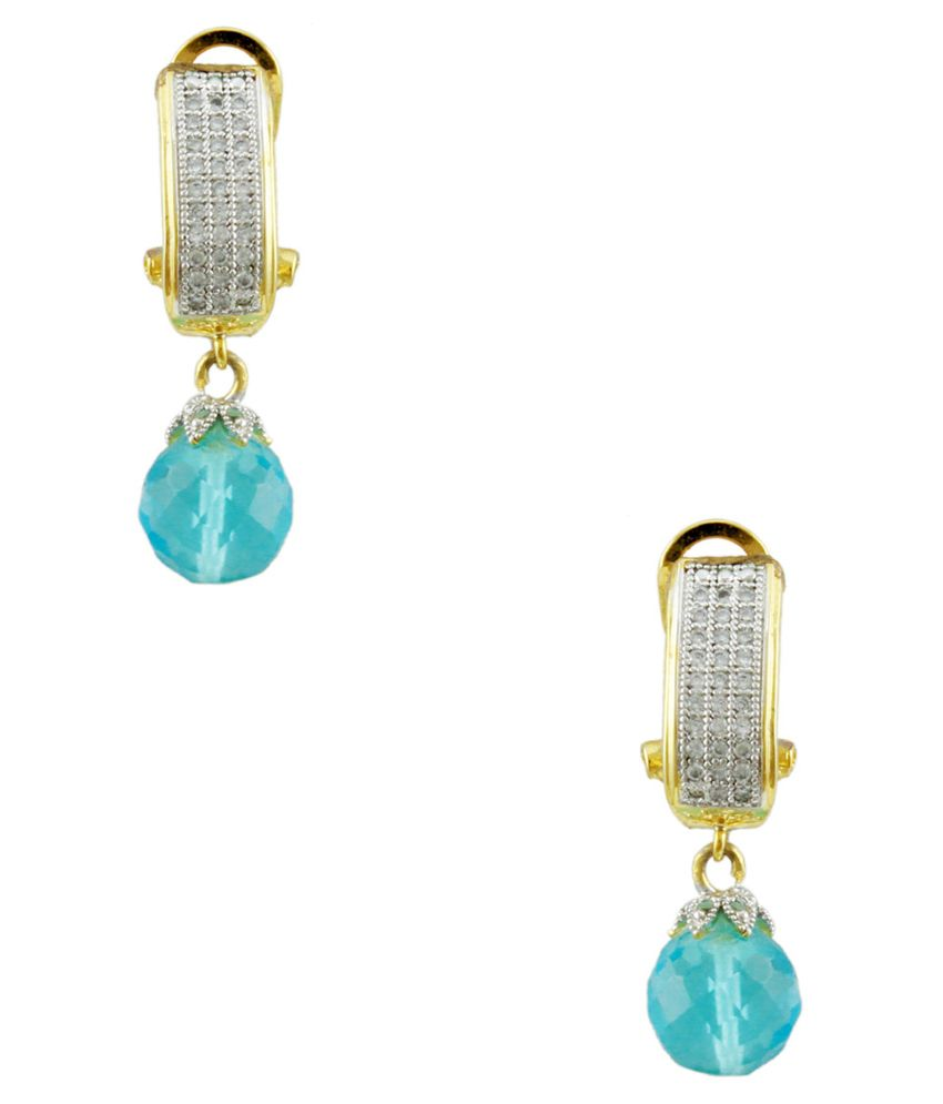 Orniza Blue Bridal Alloy American Diamonds Drop Earrings