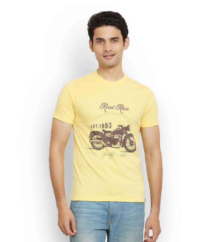 Police Yellow Cotton T-Shirt