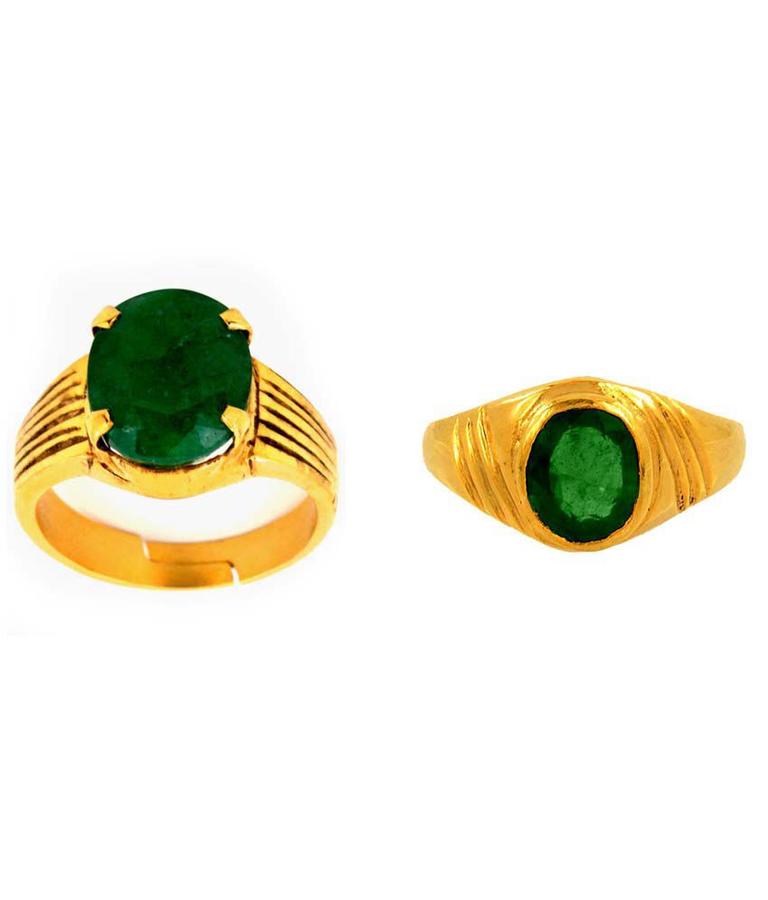 Siri Gold Green Stoned 9kt Gold Ring - Pack Of 2