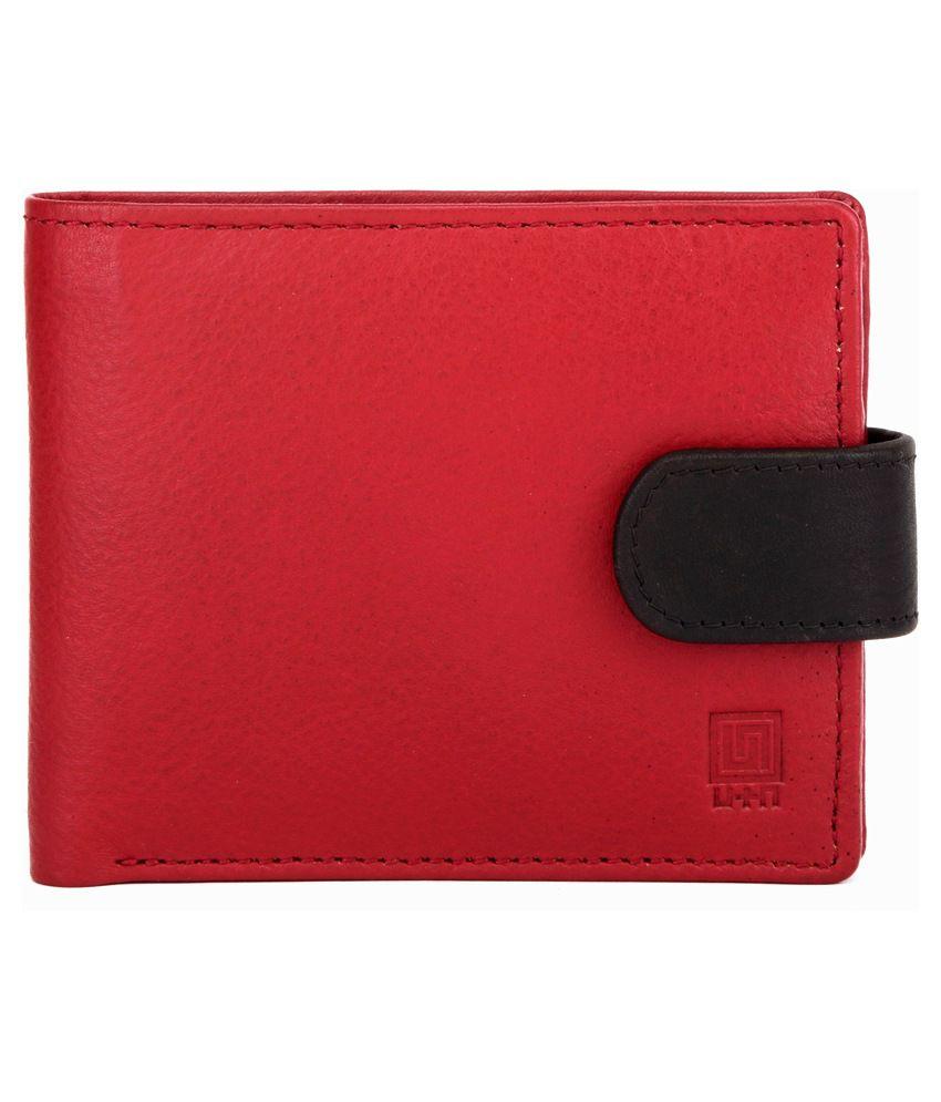 U+N Red Leather Regular Wallet