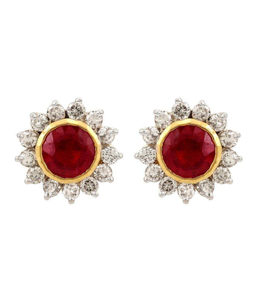 Richa Jewellers 18kt Gold Diamond Stud Earrings