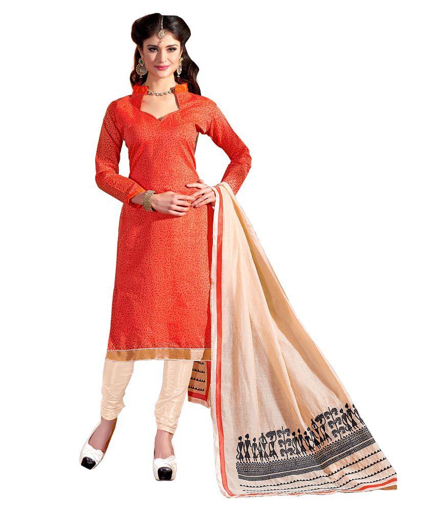 Krizel Orange Chanderi Straight Unstitched Dress Material