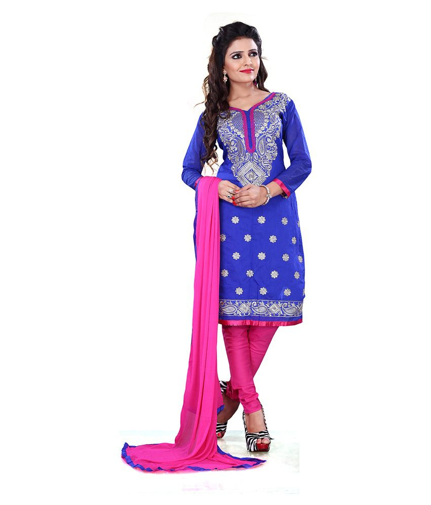 Pooja Fashions Blue Cotton Unstitched Dress Material