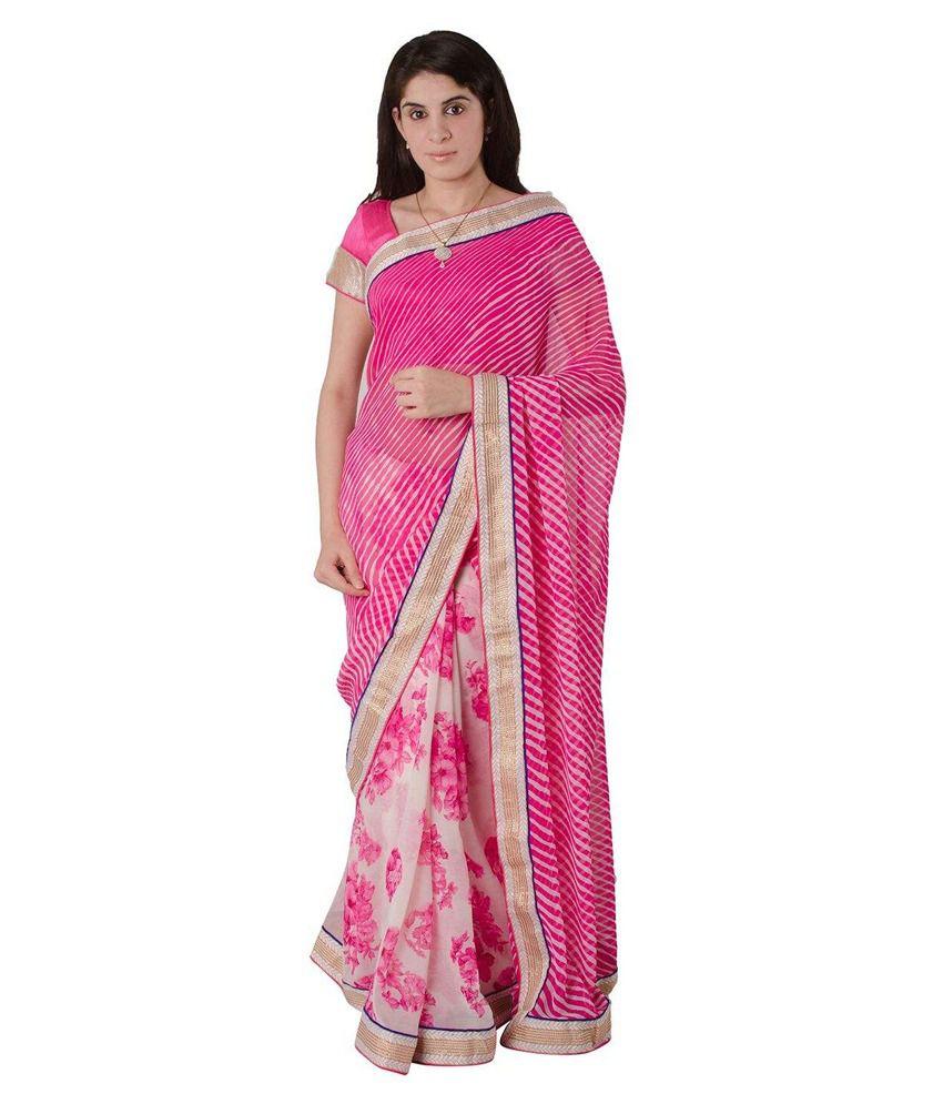 Zimmi's Pink Pure Chiffon Saree