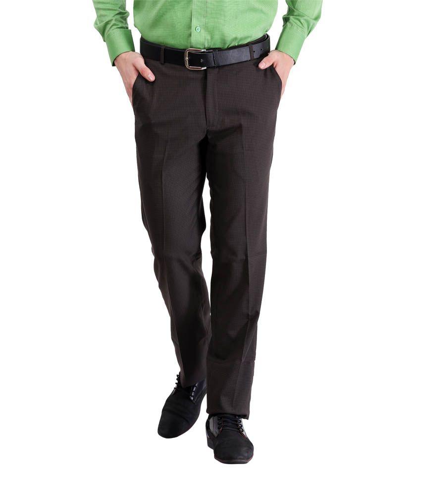 Lamode Black Regular Fit Casual Flat Trouser