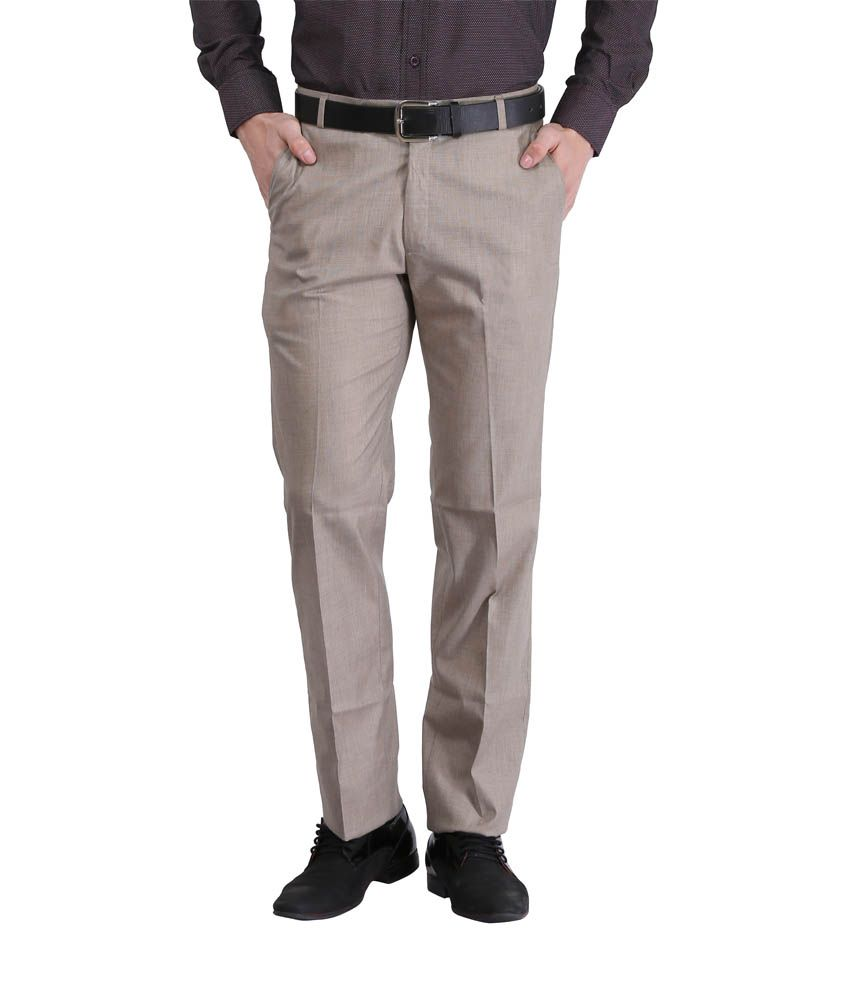 Lamode Grey Regular Fit Casual Flat Trouser