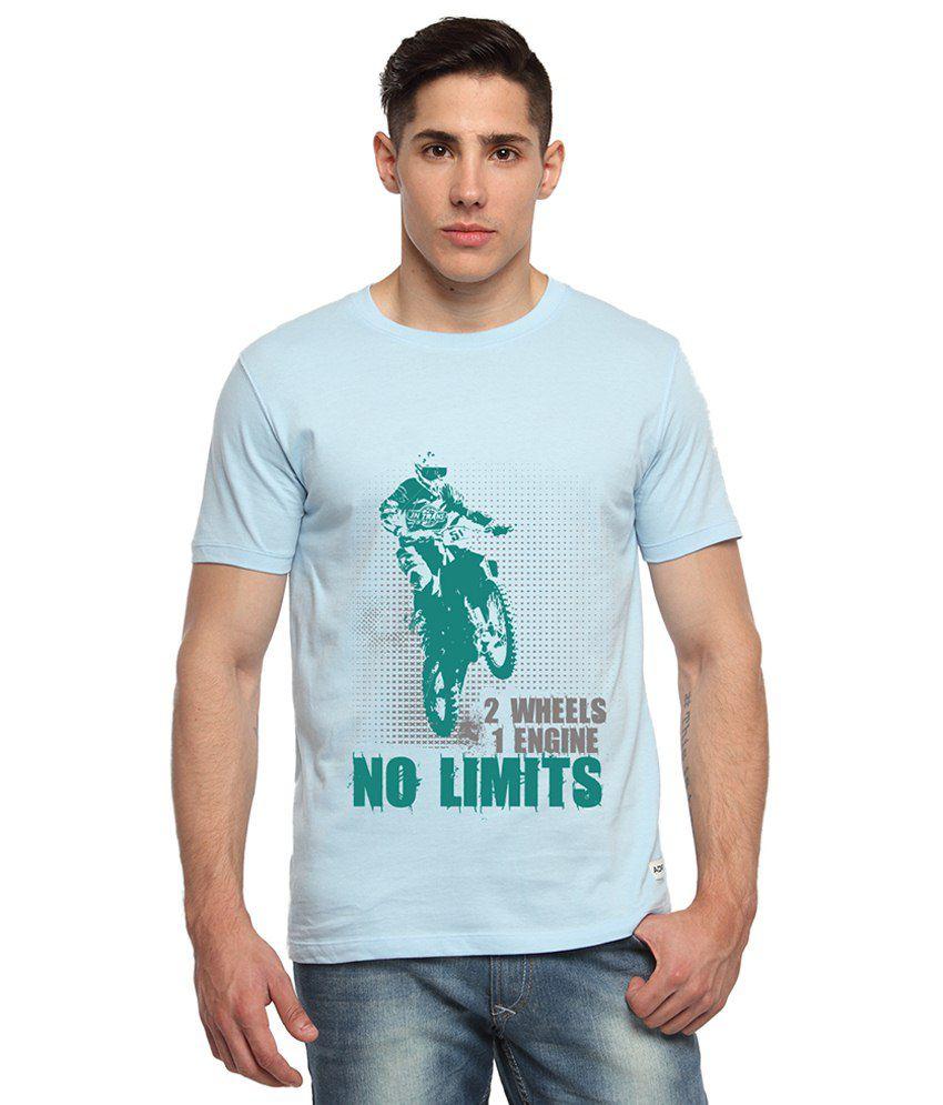 Adro Light Blue & Green No Limits Bike Printed Cotton T Shirt