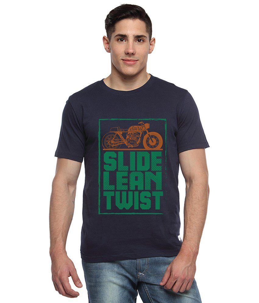 Adro Navy Blue & Green Bike Spirit Printed Cotton T Shirt