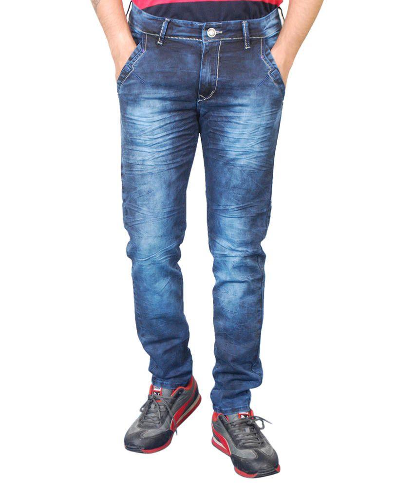Paranoid Premium Blue Cotton Blend Slim Fit Jeans