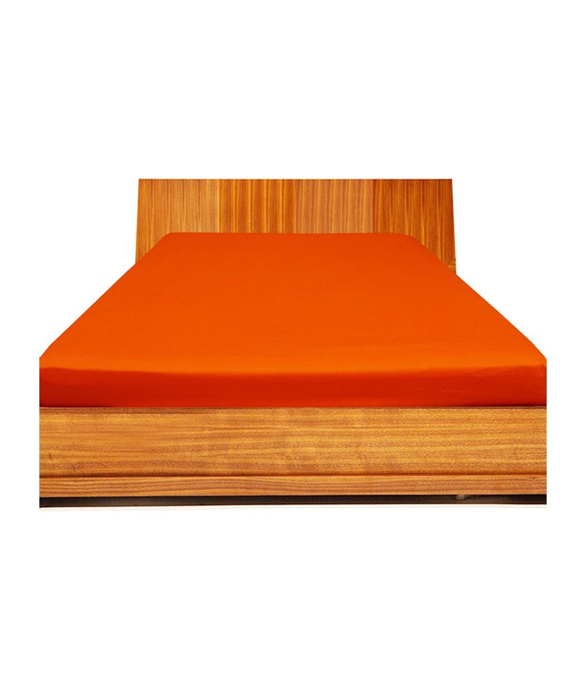 Scala Orange Cotton Fitted Double Bed Sheet ...