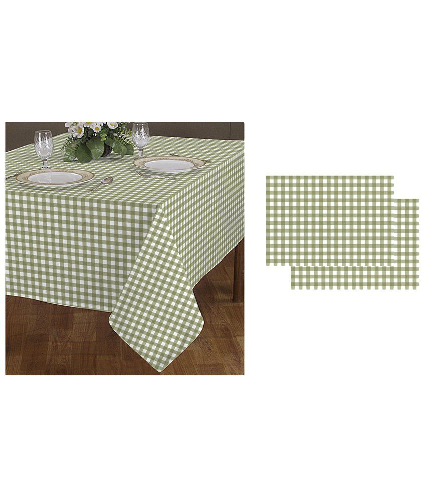 Airwill set of green white 2 seater dining table cloth for 10 seater table cloth