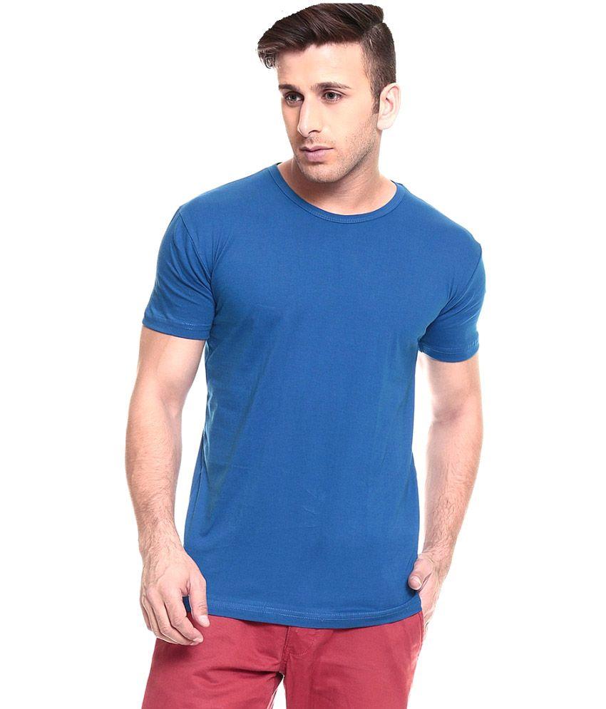 Living Cities Blue Cotton Blend Men T-Shirt