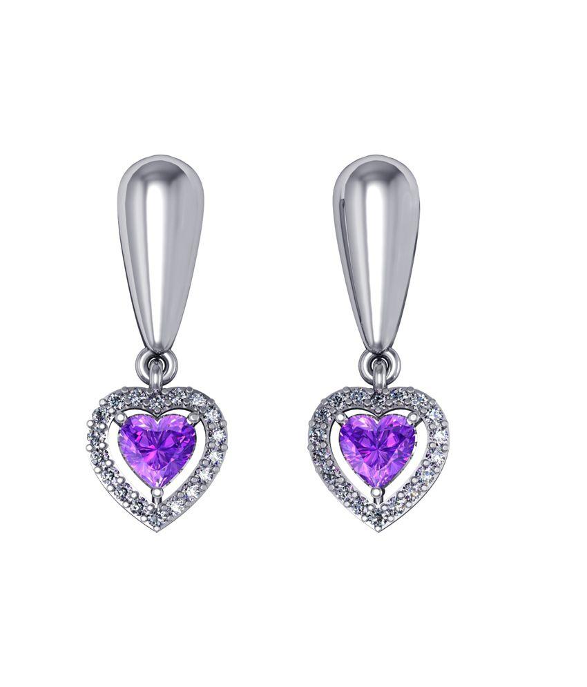 Shruti Purple German Silver Drop Earrings
