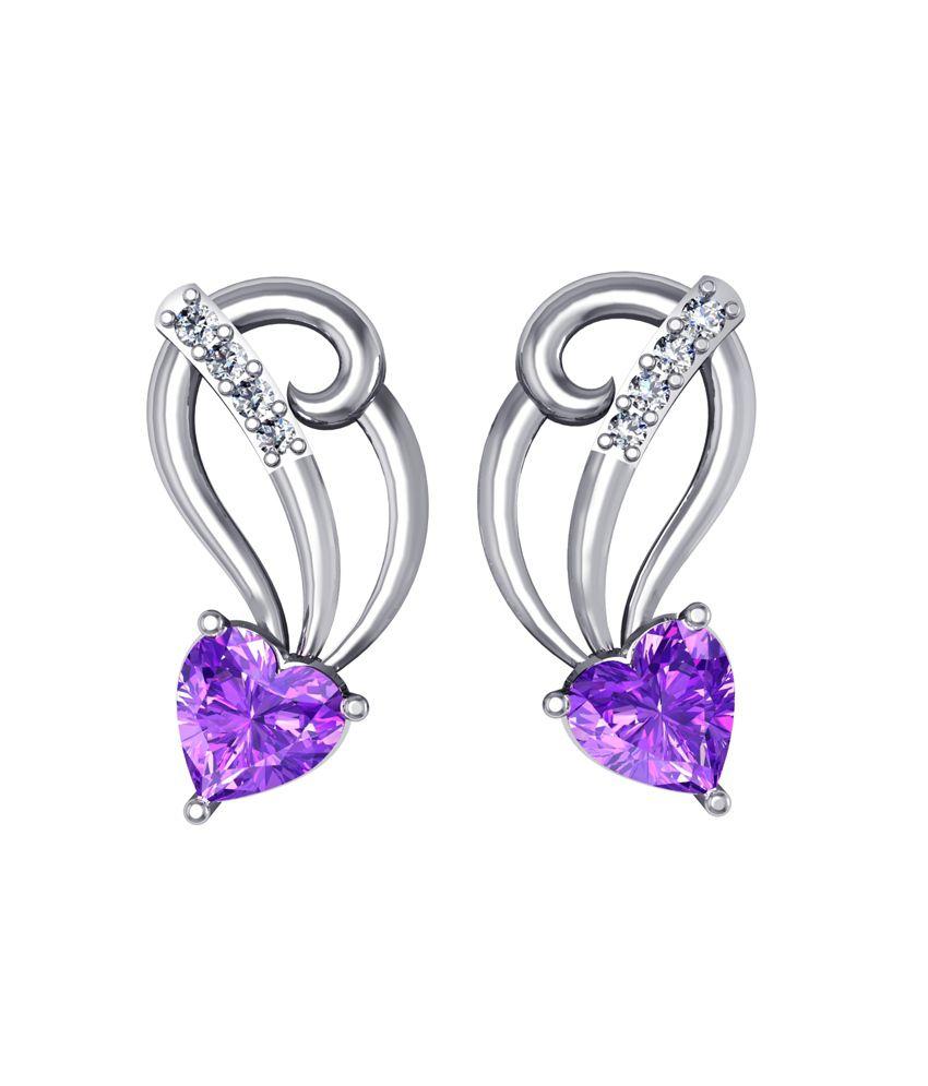 Shruti Purple German Silver Stud Earrings