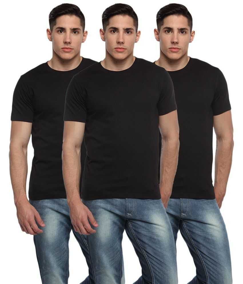 Adro Pack of 3 Black Round Neck T Shirts